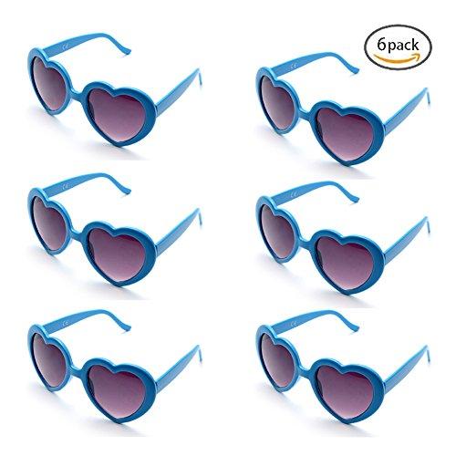 Onnea 6 Neonfarben Herzform Party favorisiert Sonnenbrillen, Multi Packs (6-Pack Blau)