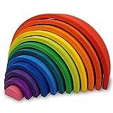 Little Star Toys Montessori Waldorf School - Large 12 Piece Wooden Stacking Rainbow (35cm)