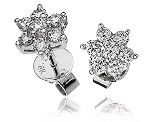 0.50CT Certified G/VS2 Round Brilliant Cut Flower Shape Diamond Stud Earrings in 18K White Gold