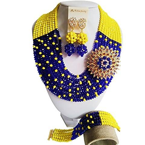 Laanc Mode parures de bijoux–Unisexe 10rangs Royal Bleu et jaune Cristal du Nigeria Mariage africain Perles Ensemble de bijoux A00081