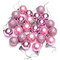Ornament Ball - SODIAL(R)24Pcs Chic Christmas Baubles Tree Plain Glitter XMAS Ornament Ball Decoration Pink