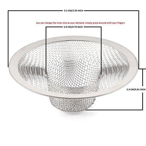 2 Abflußsieb Edelstahl Küche Spüle Sieb Drain Protectors perfekt für Küche und Badezimmer Waschbecken (52mm) - Edelstahl Protector Spüle