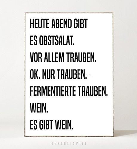 Kunstdruck / Poster OBSTSALAT -ungerahmt- Typografie, Schrift, Text, Spruch, Küche, Bild, Wein, witzig