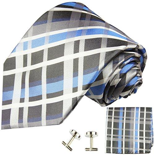 Cravate bleu tartan ensemble de cravate 3 Pièces ( longueur 165cm )