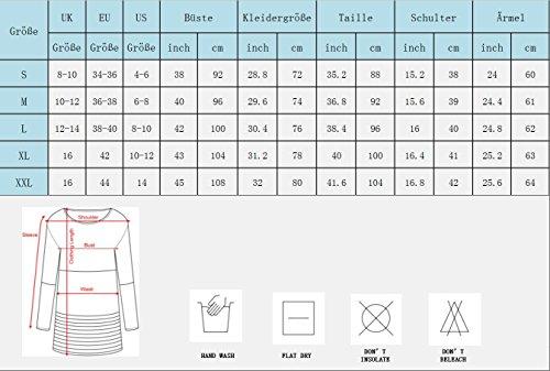 Yidarton Damen Langarm Shirt Bluse Tunika Oberteile Streifen Lace Loose Pullover Lang Sleeve Tops Dunkelblau