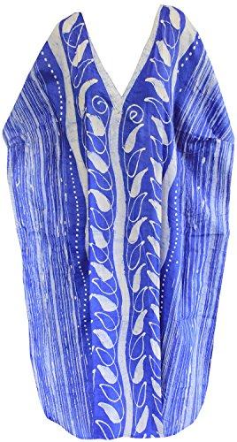 La Leela maxi couvrir robe caftan longue plage usure lâche coton v robe de cou maillot de bain Bleu