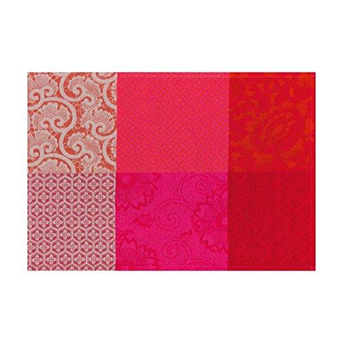 Le Jacquard Français Set enduit Fleurs de Kyoto Coton Cerise Rectangulaire 52 x 38 cm