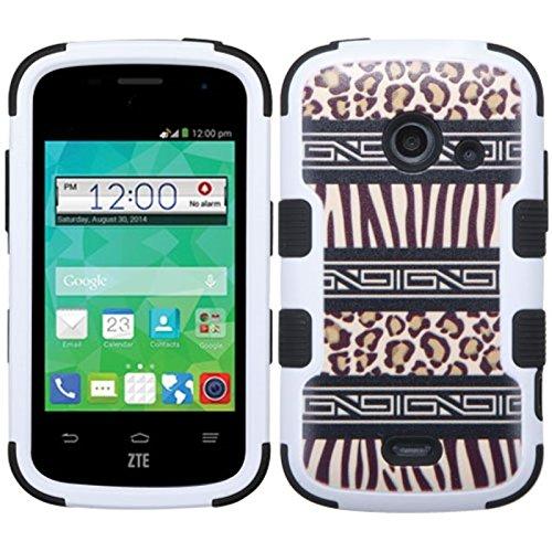 MyBat Tuff Hybrid Phone Schutzfolie Cover für ZTE Z667(Prelude 2)-Retail Verpackung-Zebra Haut/Leopard Haut/Schwarz 2 Zebra-haut