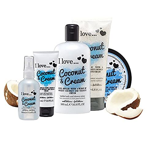 I Love… Coconut & Cream Ultimate Collection Pack Contains Shower Gel, Body Butter, Shower Smoothie, Hand Lotion and Body Spritz