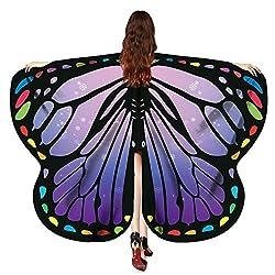 VEMOW Heißer Verkauf Eleagnt Damen Karneval Flügel Kostüm Schmetterling 170 * 140 CM Flügel Schal Schals Nymphe Pixie Poncho Kostüm Zubehör(Violett, 170X140CM)