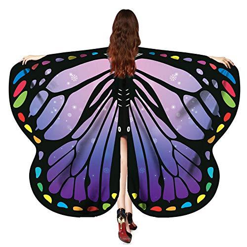 OverDose Damen Karneval Mode Stil Frauen Schmetterlingsflügel Schal Schals Damen Nymphe Pixie Poncho Kostüm Zubehör Cosplay Slim Wing Schal (Orange Katze Kostüm Kind)