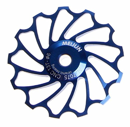 Malloom 13T MTB Ceramic Bearing Jockey Wheel Pulley Road Bike Bicycle Rear Derailleur (Blue)