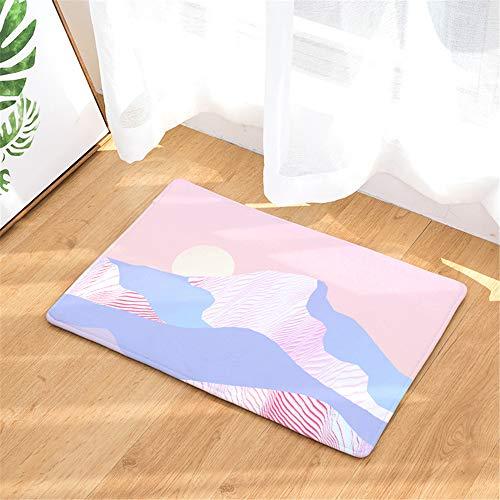 JUNDY rutschfeste, Maschinenwaschbare Badematte, Badvorleger mit Wasserabsorbierenden, Farbig Bedruckte Fußmatte Türmatte Saugmatte Farbe17 40x60cm - Ozean-blau-korn