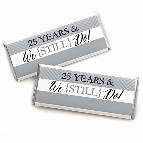 We Still Do - 25th Wedding Anniversary Party - Candy Bar Wrappers Party Favors - Set mit 24 Stück