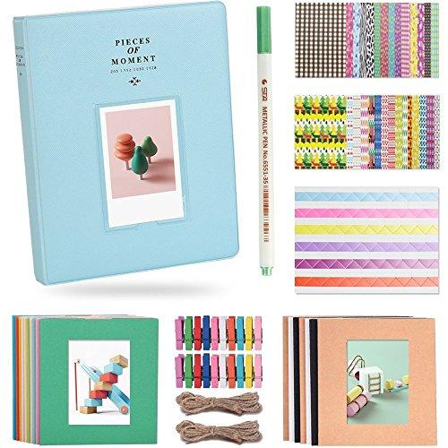 Katia 128 Taschen 3-Zoll-Fotoalbum Zubehör für Fujifilm Instax Mini 7s / 8/9/25 / 50s Sofortbildkamera mit hängenden Rahmen / Aufkleber / Stift - Eisblau