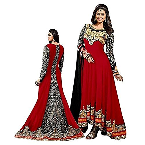 Women's Red Color Georgette Embroidered Long Anarkali Semi-Stitched Salwar Suit  available at amazon for Rs.1099