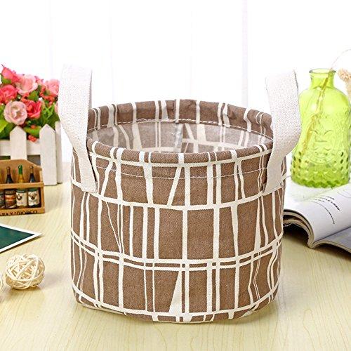 Leisial™ Portátil Caja de Almacenamiento con Lino Ropa Interior Lindo Cosméticos Juguetes Caso Organizador Cajón del Armario Plegable - Café