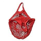 winomo Sac Shopping pliable Sac en coton réseau Sac de transport (Rouge)