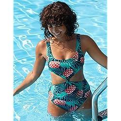 Los manantiales de agua caliente, ropa de baño bañador _ sello digital moderno spa doble piña bañador, el color de la imagen 2,S
