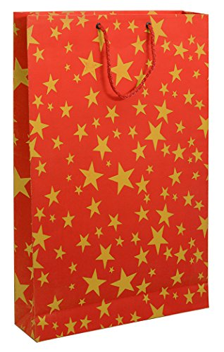 BDPP Premium Gift Paper Carry Bags-Gold Print On Strawberry Red Base(Pack Of 10)-Size 16 X 11 Inches