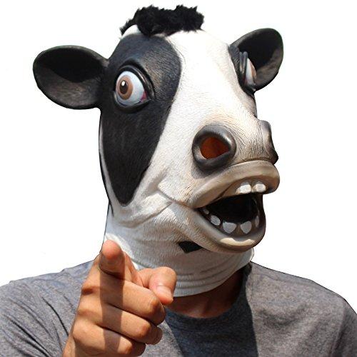 (CreepyParty Deluxe Neuheit-Halloween-Kostüm-Party-Latex-Tierkopf-Schablone Masken Milchkuh)
