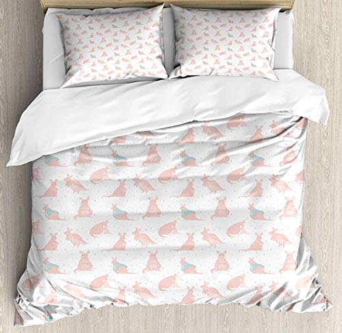 JamirtyRoy1 Kangaroo Duvet Cover Set Single Size, Nursery Concept Raining Heart Figures Over Fluffy Mother and Baby Animals, Decorative 3 Piece Bedding Set with 2 Pillow Shams, Seafoam and Rose (Seafoam Baby Bettwäsche)