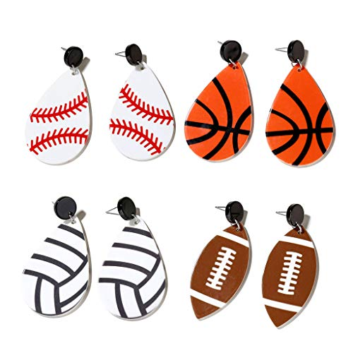 MIKI-Z 4 Paare Baseball Fußball Rugby Volleyball Teardrop Acryl EarringsSports Fans
