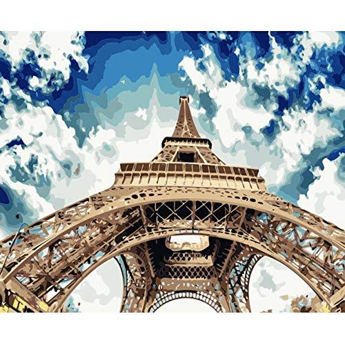 BPAINTF Gemälde nach Zahlen DIY Blue Sky White Cloud Eisenturm Nahaufnahme Leinwand Wandkunst Bild Zeichnung für Moderne Wohnkultur Wohnzimmer Kunstwerk 60X75cm DIY gerahmt