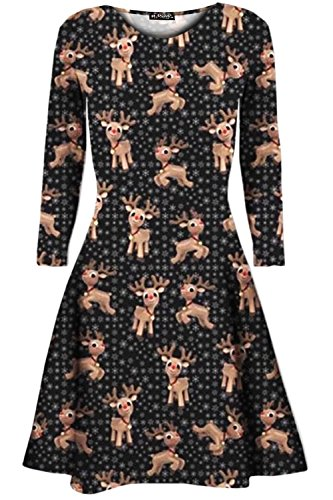Be Jealous -  Vestito  - Maniche lunghe  - Donna Baby Reindeer Snowflake Black