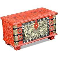 Aufbewahrungstruhe rot Mango Holz 80x 40x 45cm - preisvergleich