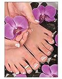 Poster Black Orchidee Pediküre Fusspflege DIN A3 Nagelstudio Nageldesign Nailart Wandgestaltung Kosmetik Nails 29,7x42,0cm