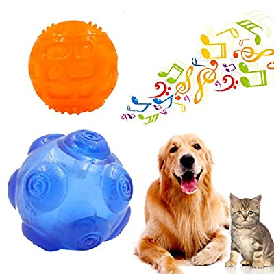 Ulable Dog ball squeaky toy, Durable Rubber Toy Balls With Squeaky Sound - Two Size Suit for Small,Medium and Large pets