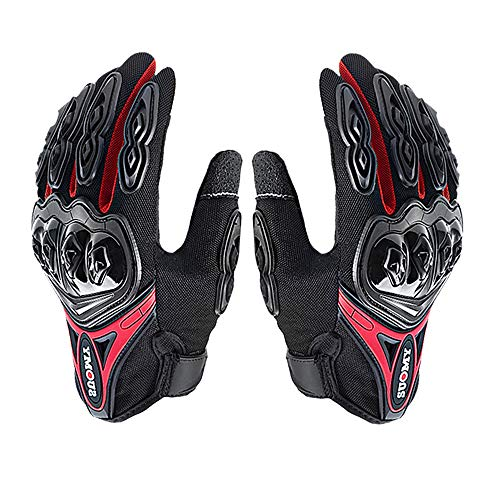 L&Q Guanti Moto Full Finger Quattro Stagioni In Sella A Locomotiva Guanti Anti-caduta Off-road Design Touch Screen Guanti Uomo E Donna (rosso,XL)