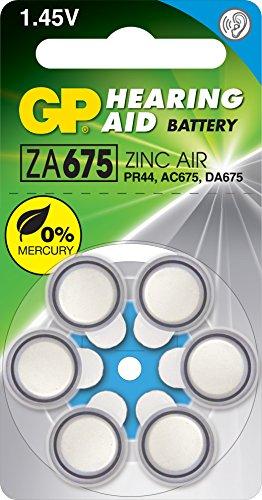 GP ZA675 Blister de 6 piles bouton zinc air compatible PR44/DA675X/AC675E
