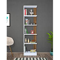 PUPIS Librería de salón- Blanco / Nogal - Librerías de oficina - Estantería o librería - Estantería de madera