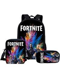 Mallalah Mochila Fortnite Escuela Bolsas Fortnite Juegos Fortnite Fortnite Backpack Mochila de Viaje Daypack Mochila Informal para Adolescentes y Niños (Tres Mochilas, Colores 2)