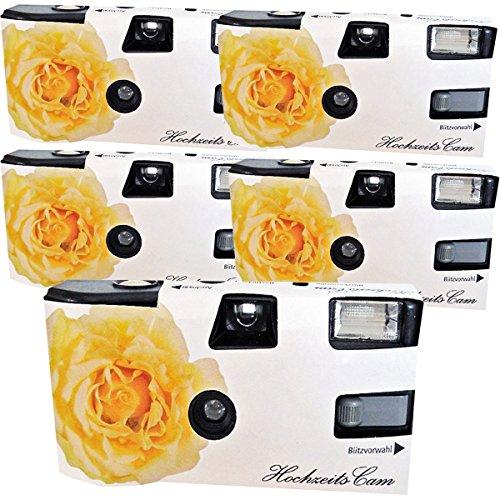 5 x Photo Porst boda Cámara/cámara desechable 'crema amarillas de bodas Rose (con flash luz y pilas, por 27 fotos, ISO 400 Fuji)