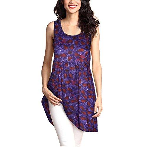 Yvelands Damen Weste Tank Top Lässig Rundhals Pullover Ärmelloses T-Shirt Kleid Schlank Druck Plus Size Tops ()