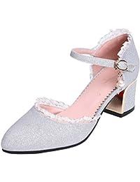YE Damen Chunky Heels Pumps mit Blockabsatz und Riemchen Glitzer 5cm Absatz  Hochzeit Schuhe 21b6b6133f