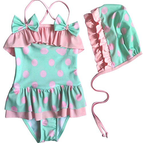 Mebeauty Kinder Mädchen Badeanzug Kleine Mädchen Schöne Bademode Erdbeere Einteiliges Bikini Set Schwimmen Kostüm Mit Hut Netter bunter Schwimmen-Kostüm-Badeanzug (Größe : 2T)