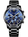 Alienwork Montre quartz multifonction homme sport Conception Acier inoxydable bleu noir S001GA1-G-03