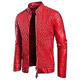 JIAZHOU Männer Leder Wasserfeste Jacke Herbst Slim Fit Jacke Outwear Top Mantel Mit Reißverschluss Taschen (Rot, L)