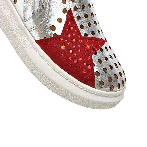 AgooLar Damen Blend-Materialien Niedriger Absatz Rund Zehe Gemischte Farbe Pumps Schuhe Silber