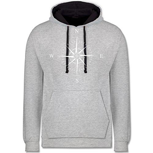 Statement Shirts - Kompassrose - Kontrast Hoodie Grau meliert/Dunkelblau