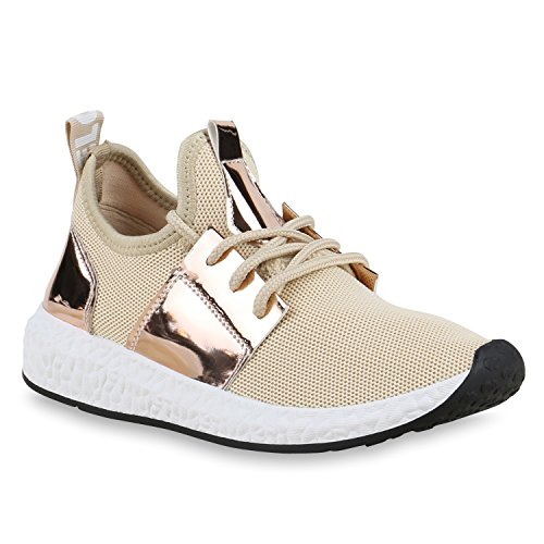Damen Sportschuhe Runners Lack Metallic Laufschuhe Sneakers Creme Gold