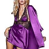 Jaminy Mode Frauen Plus Size Bra Zauberhafte Wimpern Spitze Sexy Dessous Nachtwäsche Nachtwäsche Unterwäsche Transparente Reizwäsche Dessous (Violett, Free Size)