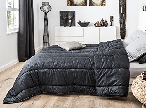 J&K Markets - Couette noire 220x240cm 100% Microfibre 450gr/m² effet Crocodile