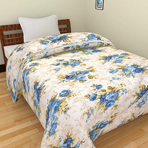Zylish Beautiful Floral Designs Reversible AC Blanket/Dohar/Quilt for Home Single Bed (White_Blue)