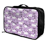 Portable Luggage Duffel Bag Goats Pastel Purple Farm Animal Travel Bags Carry-on In Trolley Handle