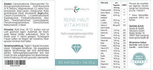Reine Haut Vitamine – Hochdosiert – 2 Monatsvorrat mit 19 Inhaltsstoffen - Kollagen - Collagen